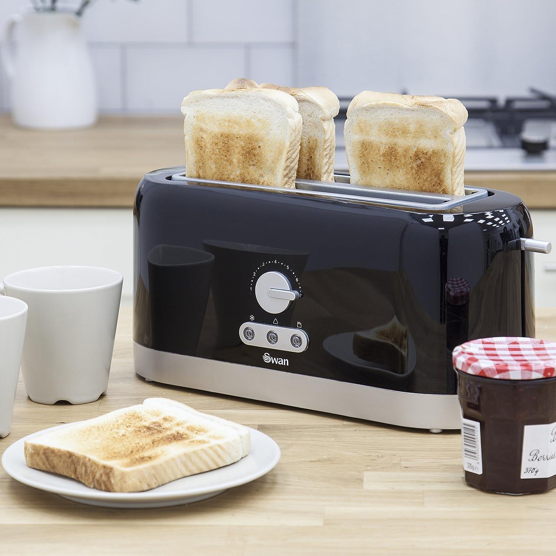 Swan 4 Slice Long Slot Black Toaster