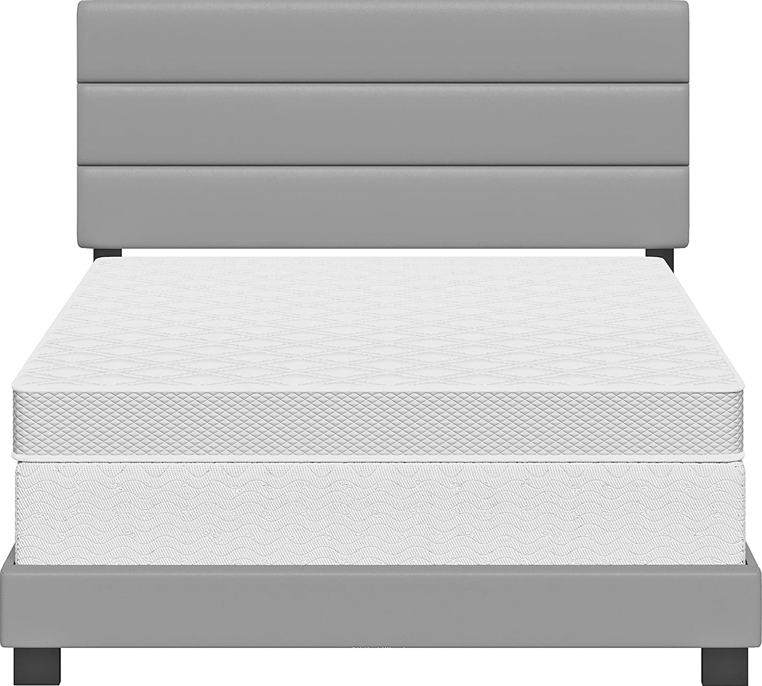 Faux Leather Twin Black Boyd Sleep Montana Upholstered Platform Bed Frame Mattress Foundation with Tri-Panel Headboard and Strong Wood Slat Supports