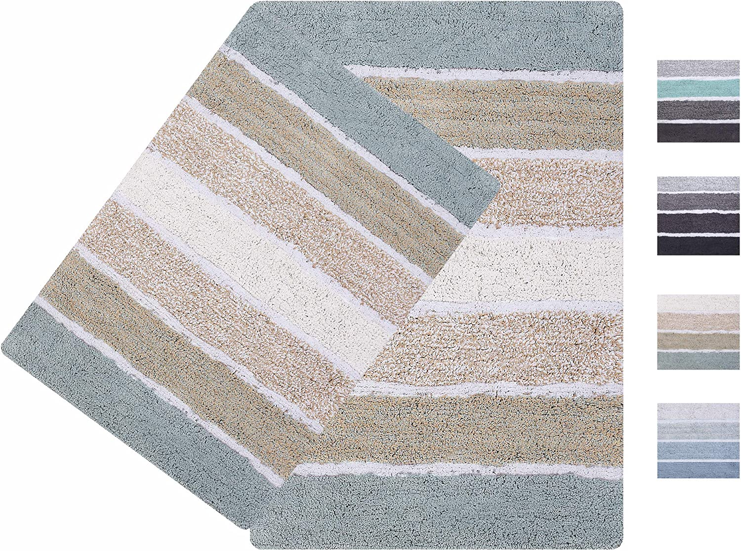 Quilted Stripe Luxury Bath Rug Set of 2, Mat Set, Soft Plush Anti-Skid Shower Rug +Toilet Mat.Quilted Rugs, Super Absorbent mats, Machine Washable Bath Mat,Size 21x32- 17x24 Spa Grey-Beige