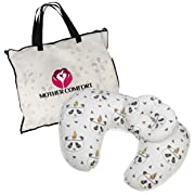 NURSING/FEEDING PILLOW with BONUS HEAD POSITIONER- PANDA DESIGN - By Mother Comfort - Comfortable for both Mother and Baby - Removable Cotton Cover- Easy to Wash