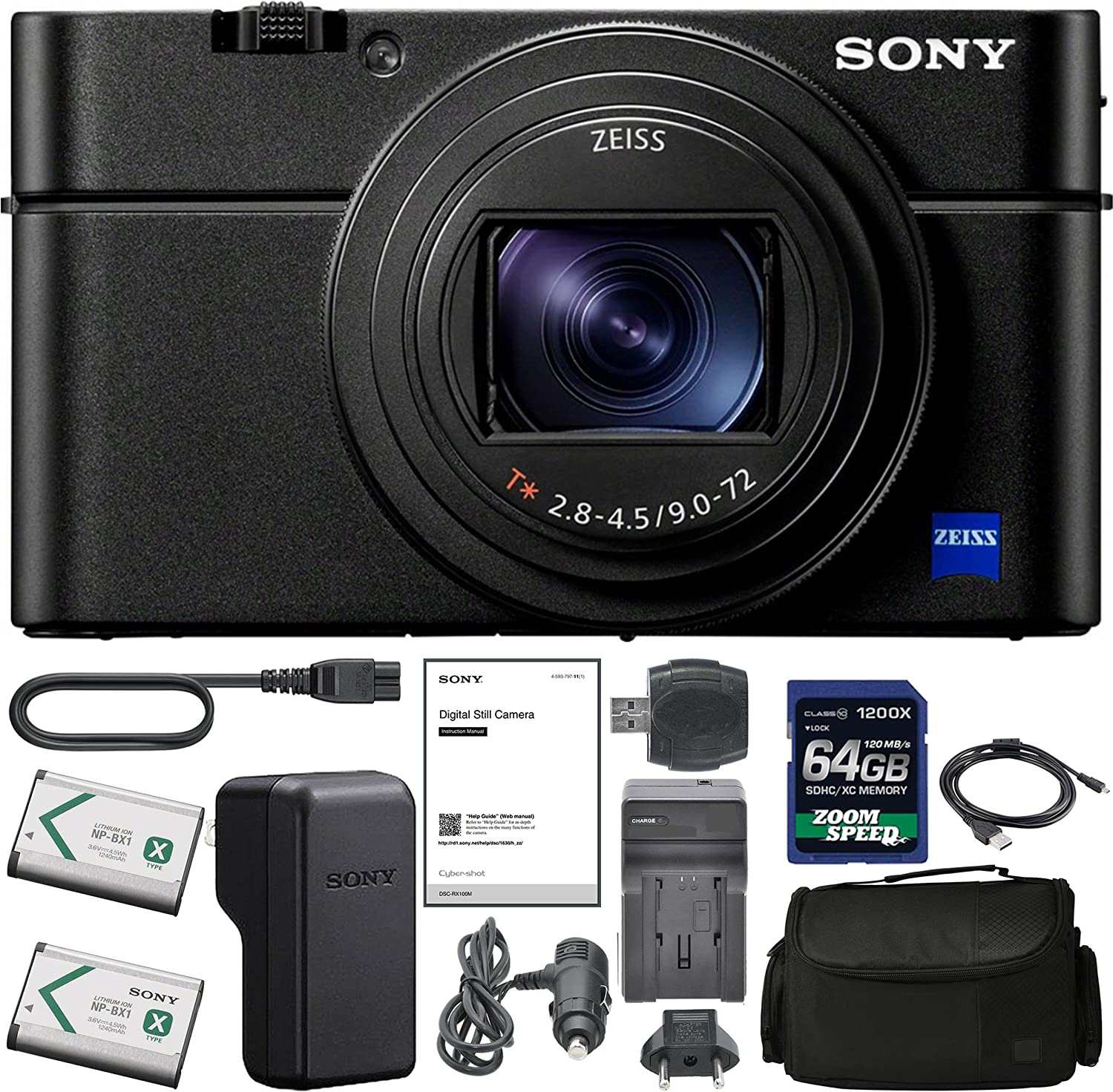 SonyCyber-Shot DSC-RX100 VI Digital Camera with Sony NP-BX1/M8 Battery, Spare NP-BX1 Battery, 64gb SDXC 1200x Card, Card Reader, Carrying case, AC Adapter Bundle Kit - International Version