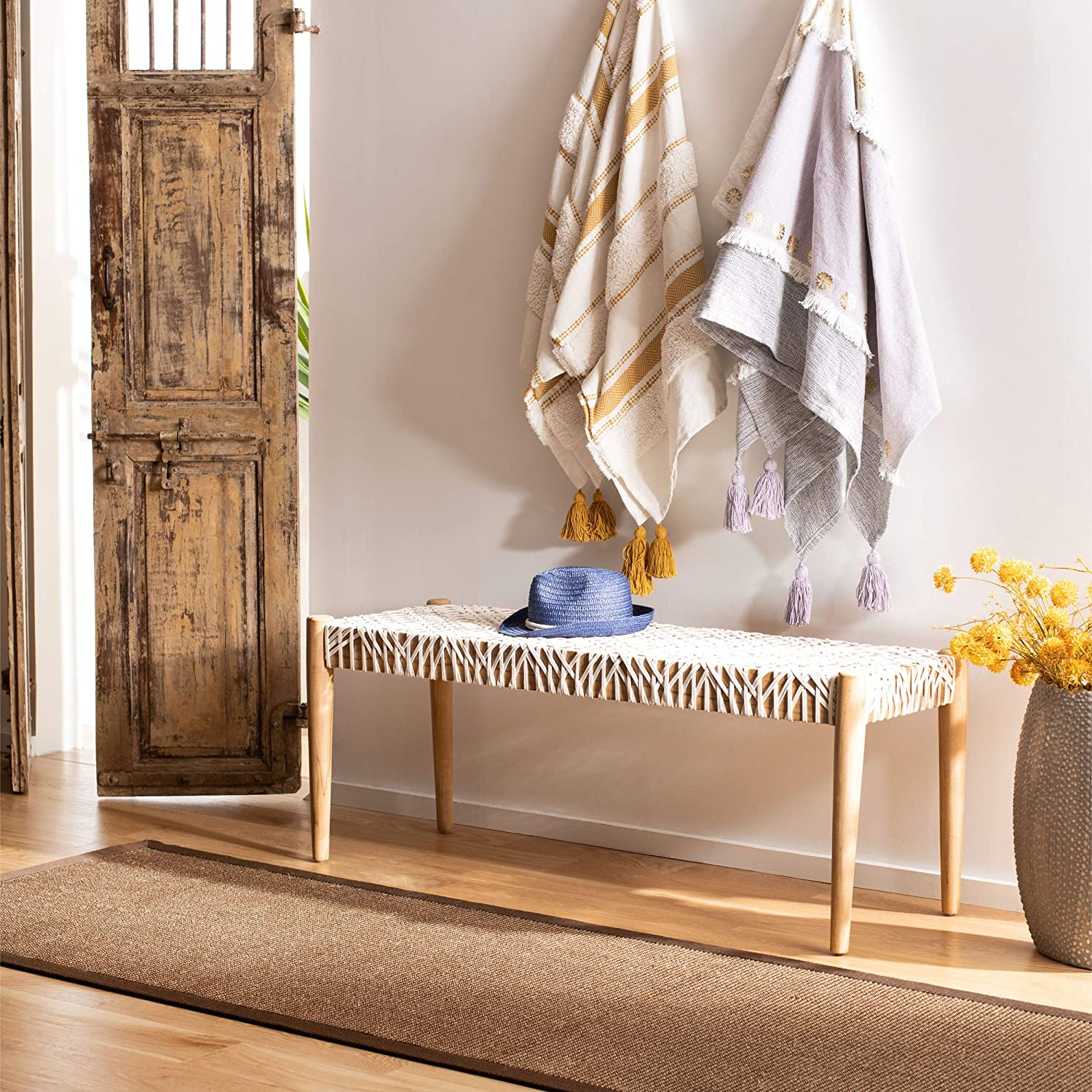 Amazon Com Safavieh Home Bandelier 47 Inch Light Oak And Off White Leather Weave Bench Furniture Decor