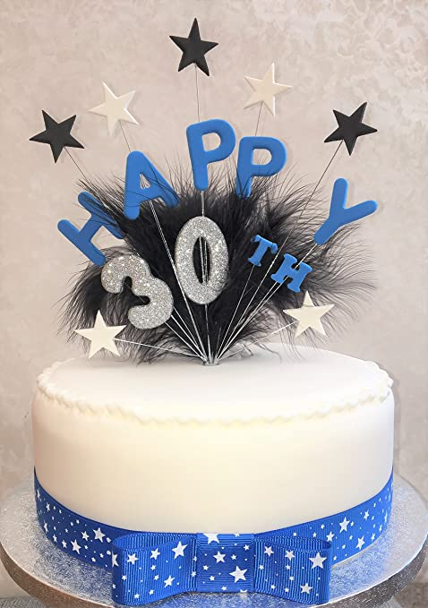 Happy 30th Birthday Cake Topper Blue Black Silver Plus 1 X Metre