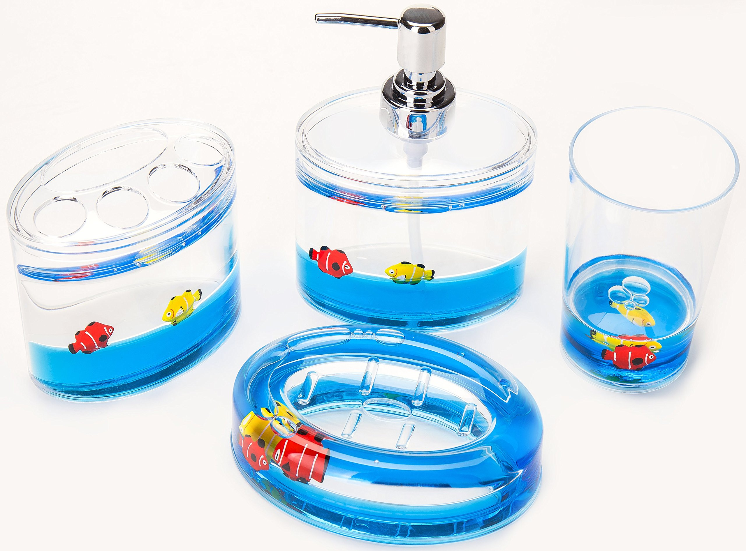Yeti Decor 4 Piece Acrylic Liquid 3D Floating Motion Bathroom Vanity Accessory Set Fish