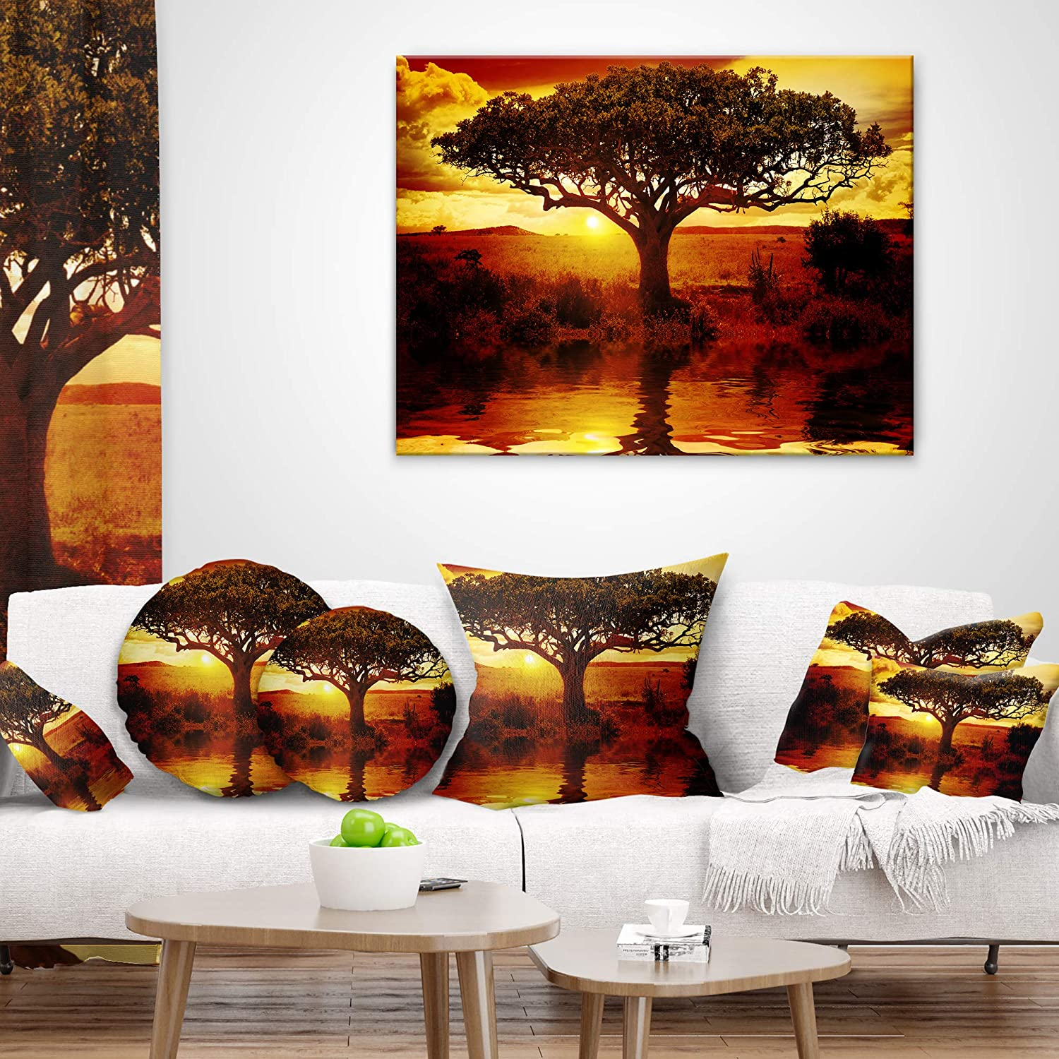 Designart CU12295-26-26 Lonely Tree Sunset African Landscape Printed Cushion Cover for Living Room in Insert Side Sofa Throw Pillow 26 in x 26 in