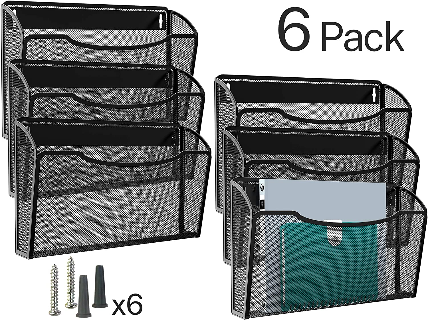 MaxGear Wall File Holder Hanging File Organizer Mail Organizers Wall Mount Paper Organizer Hanging File Holder Wall Mounted Pocket Holders for Home, Office, 6 Pack, Metal Mesh, Black