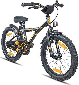 Prometheus Bicicleta Infantil niño y niña | 18 Pulgadas | Negro Mate Naranja | A Partir