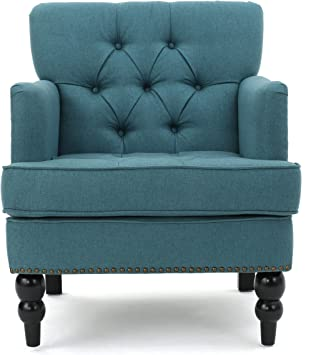 Amazon Com Tufted Club Chair Decorative Accent Chair With Studded Details Dark Teal Furniture Decor