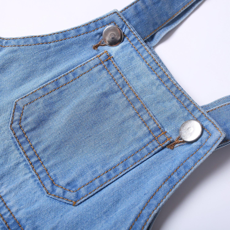 Kidscool Baby & Toddler Girls/Boys Big Bibs Ripped Hole Summer Jeans Shortalls,Light Blue,4-5 Years by Kidscool (Image #2)