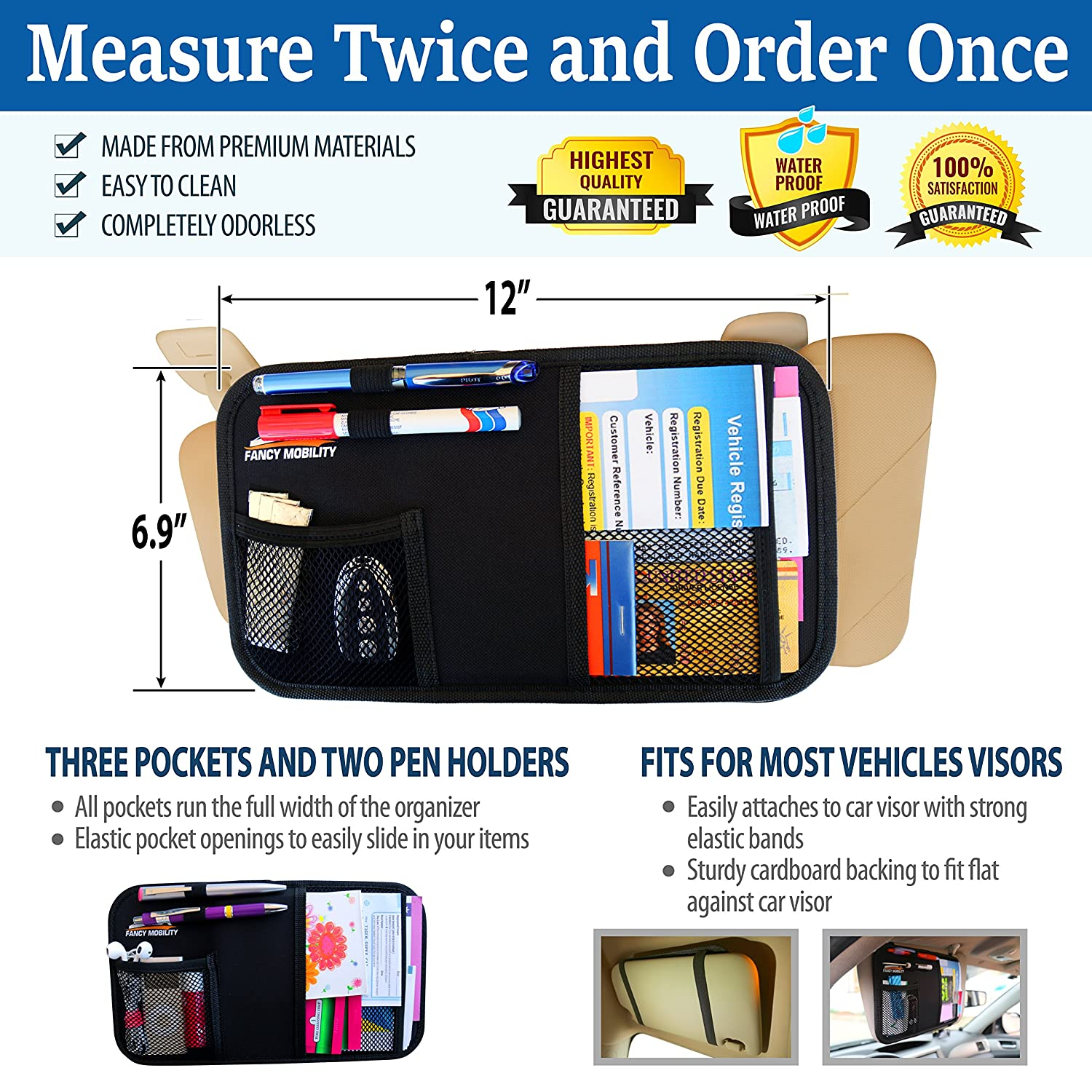Fancy Mobility Car Sun Visor Organizer 25 Pack Car 5Year Warranty SUV Registration /& Insurance Storage Pouch Truck Auto Accessories Document Holder Road Trip Essentials Gift for Any Driver