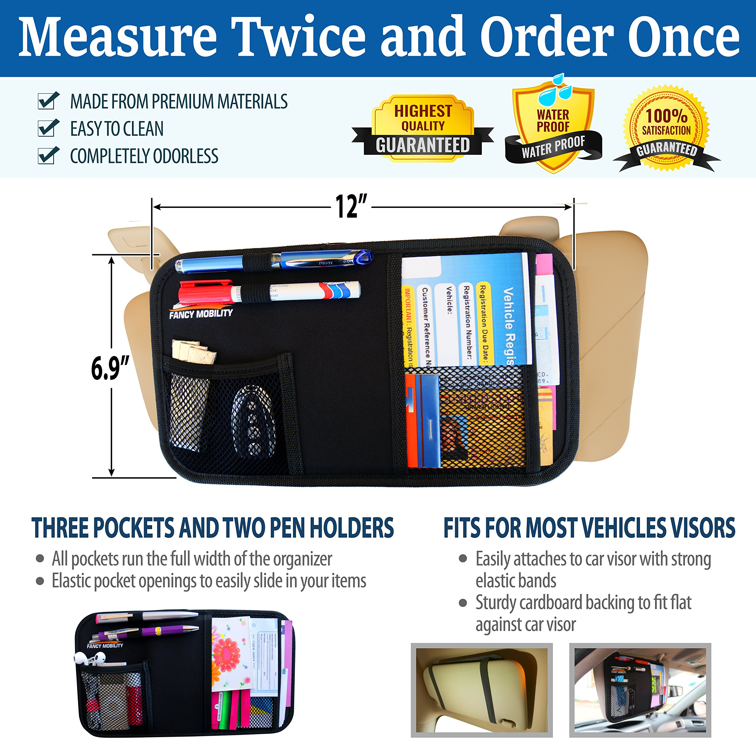 Fancy Mobility Car Sun Visor Organizer - Auto Accessories Document Holder - Car, Truck, SUV Registration & Insurance Storage Pouch - Road Trip Essentials Gift for Any Driver + 5Year Warranty (5 Pack) by Fancy Mobility (Image #3)