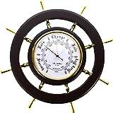 The Emporium Barometers - W9523 - Baromètre Mural pour Bateau - Gouvernail - Mesure la pression atmosphérique - 33 x 33 x 3cm