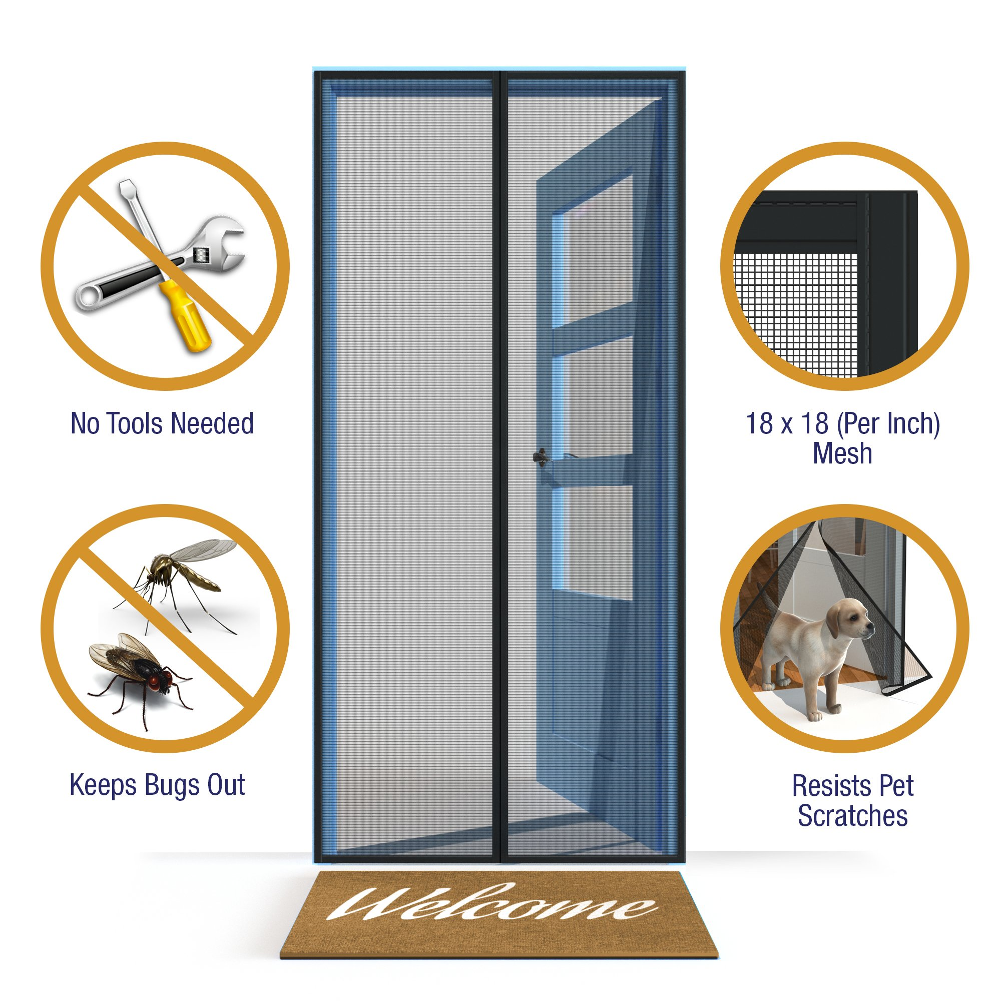 Home Diamonds Ultra Heavy Duty Fiberglass Magnetic Mesh Screen Door Full Frame Velcro, 28 Strong Magnets, Fit Doors up to 34 x 81-inches by Home Diamonds (Image #3)