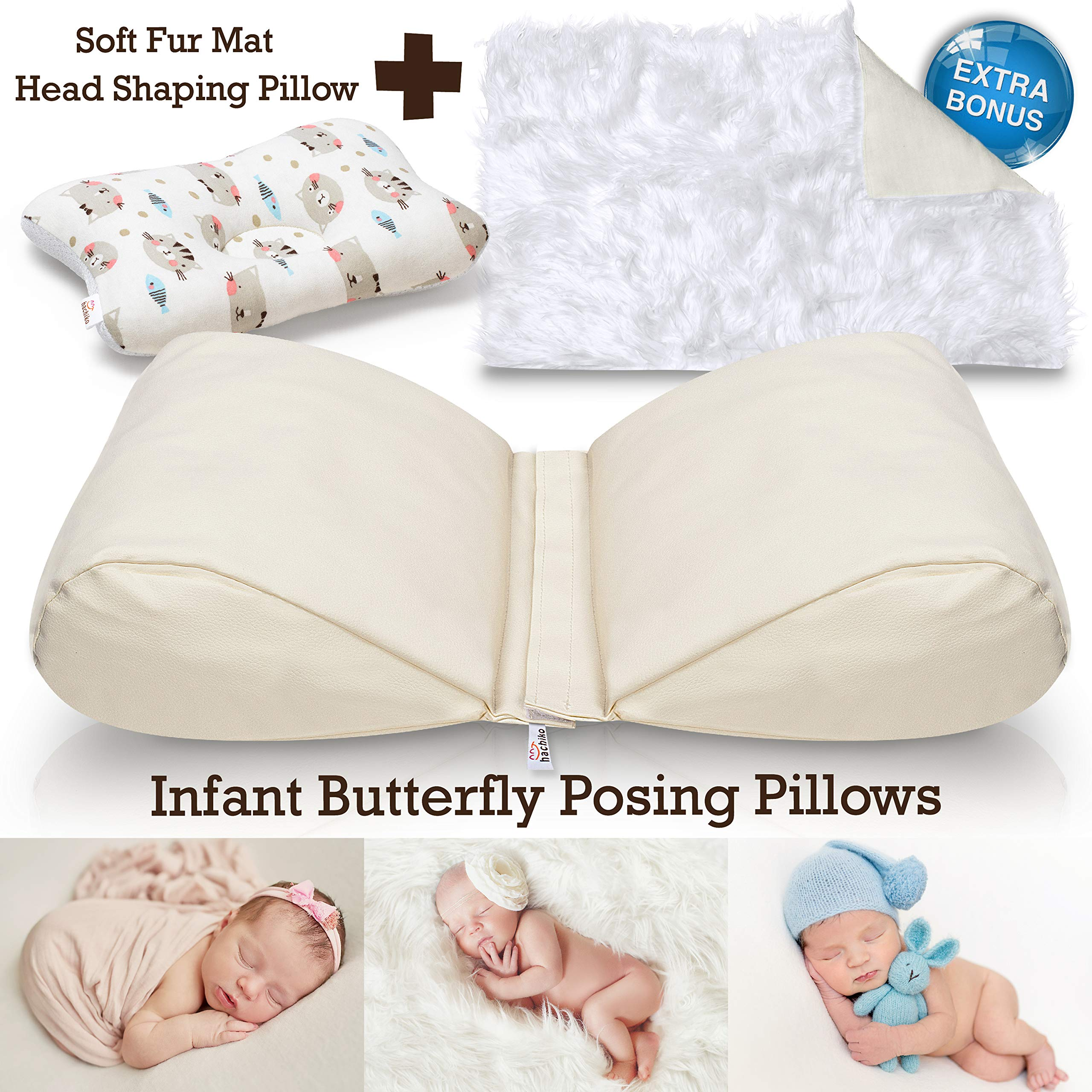 Newborn Butterfly Posing Pillow Photography Prop Plus Soft Faux Fur Background Blanket and Head Support - 2 Piece Detachable Cushion to Pose Your Baby for DIY or Professional Photo Shoot in Comfort by Hachiko