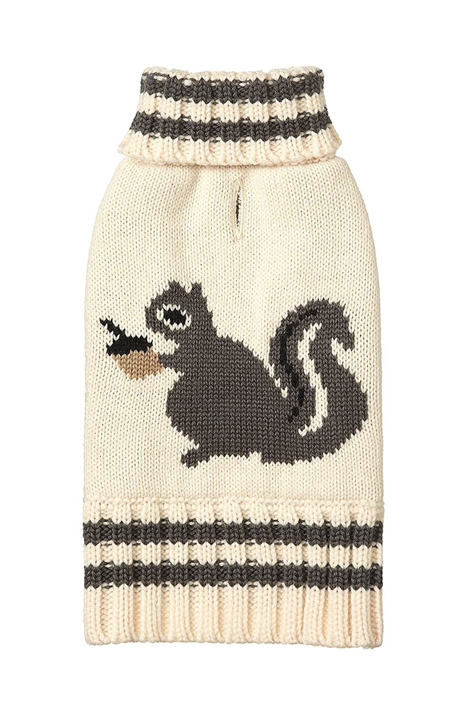 24\ Fab Dog Knit Turtleneck Dog Sweater Squirrel, Cream, 24Inch Length