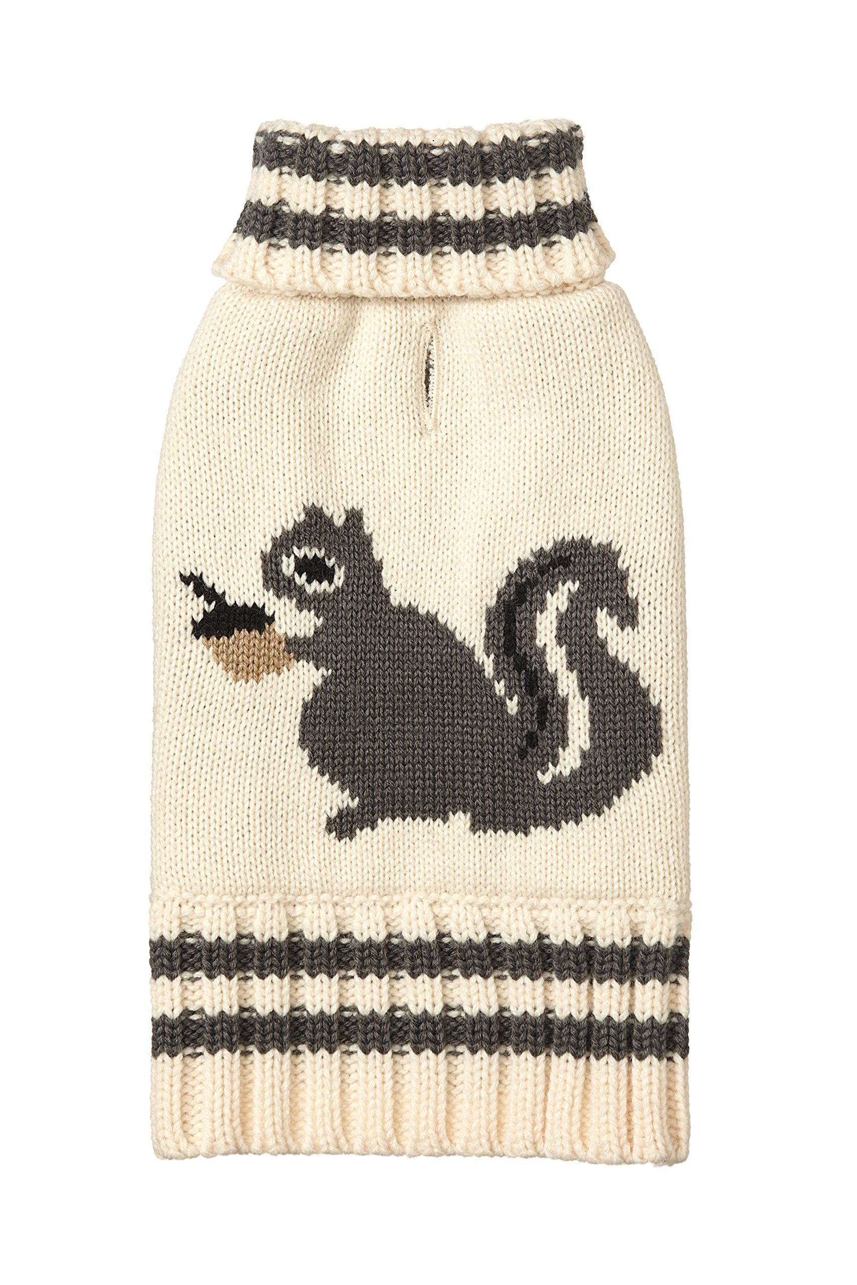 Fab Dog Americana Classics Knit Dog Sweater, Cream Squirrel, 16''