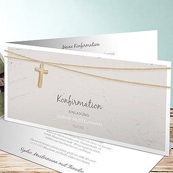 Einladungen Zur Konfirmation Selber Machen, Holzkreuz 25 Karten,  Horizontale Klappkarte 210x100 Inkl. Weiße