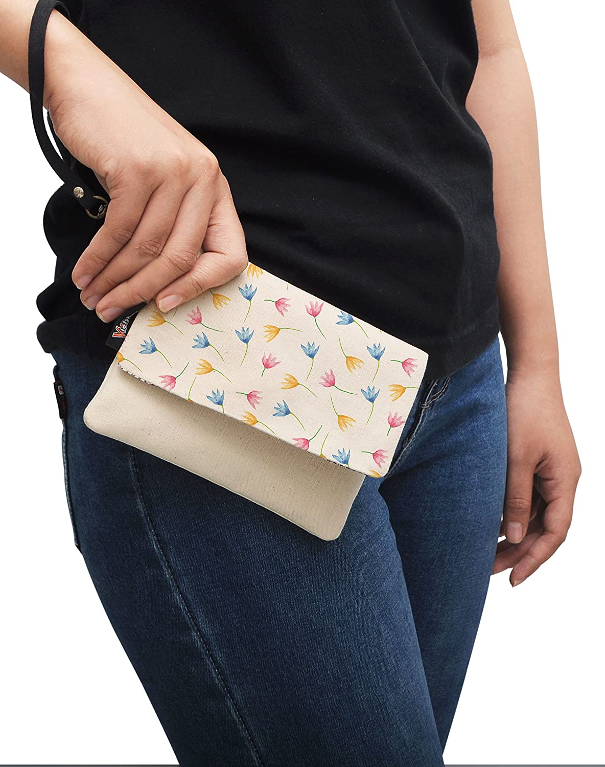 VietsWay Watercolor Floral Pattern-44 Canvas Clutch Purse with Wristlet Strap WAS/_12