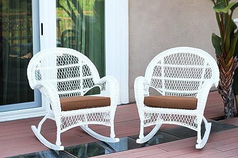 Amazon.com: Mimbre Silla basculante con cojín de color café ...