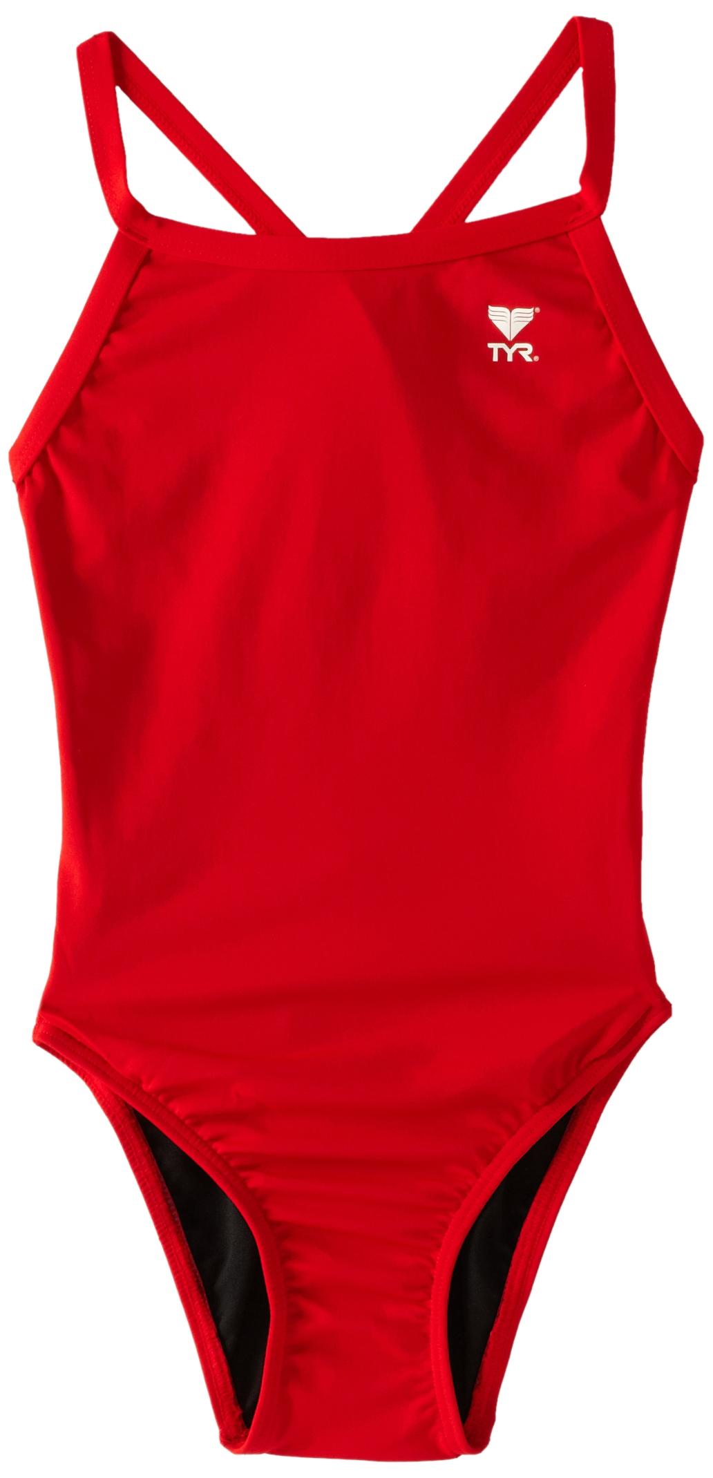 TYR Sport Girls' Solid Durafast Diamondback Swim Suit (Red, 26)