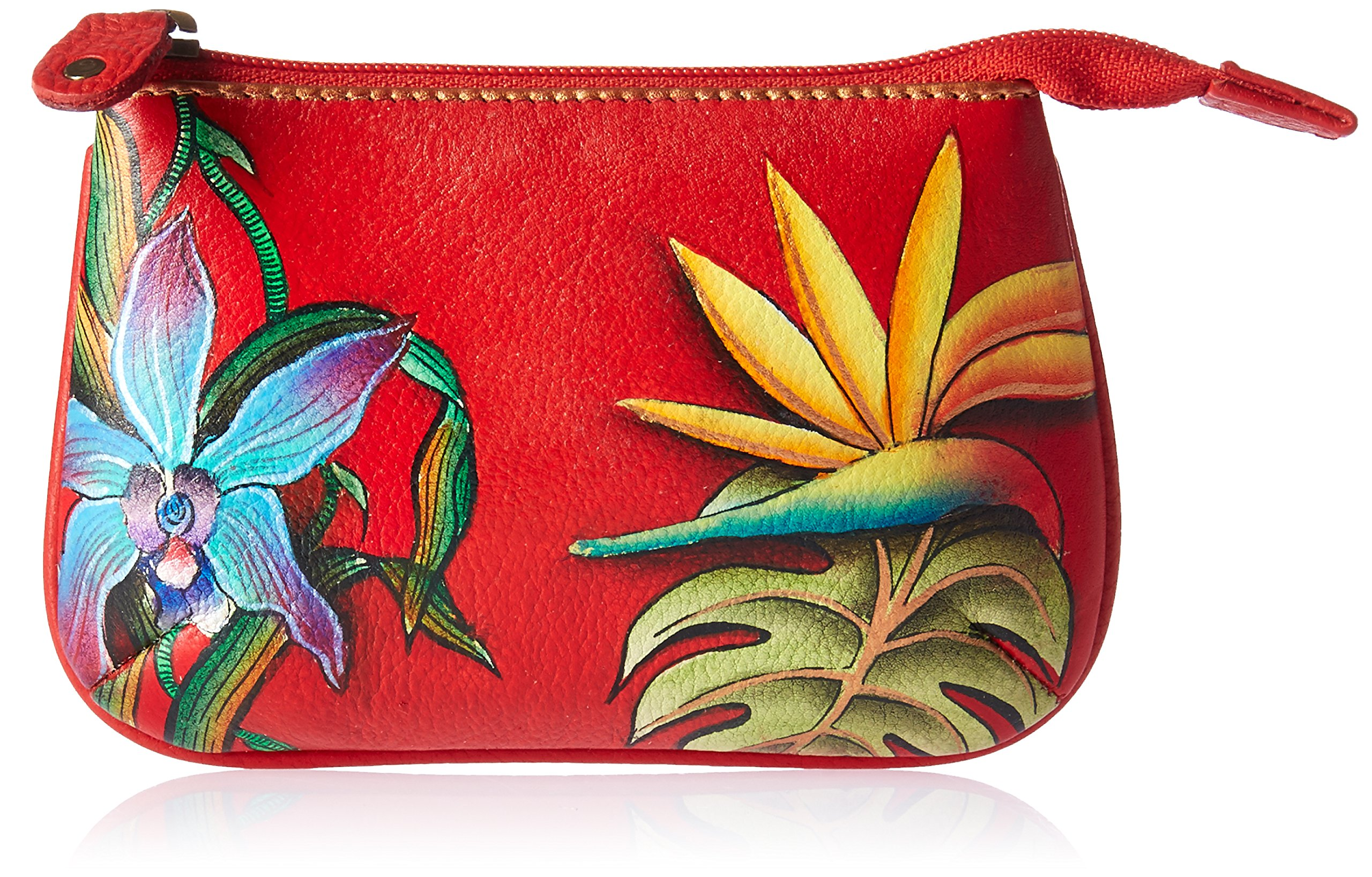 Anuschka Women's Handpainted Leather Medium Coin Purse-Island Escape, One Size