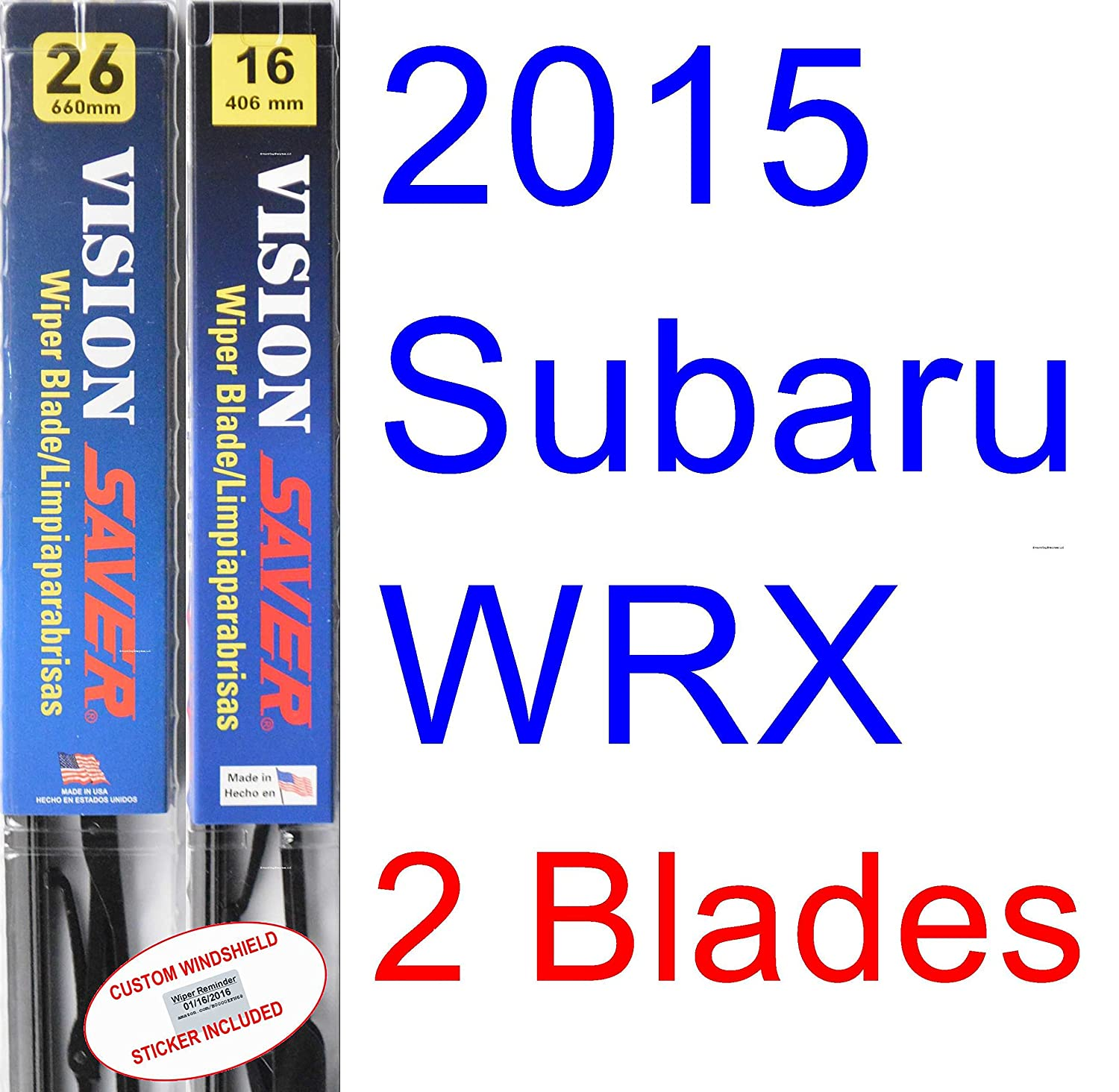 Amazon.com: 2015 Subaru WRX Replacement Wiper Blade Set/Kit (Set of ...