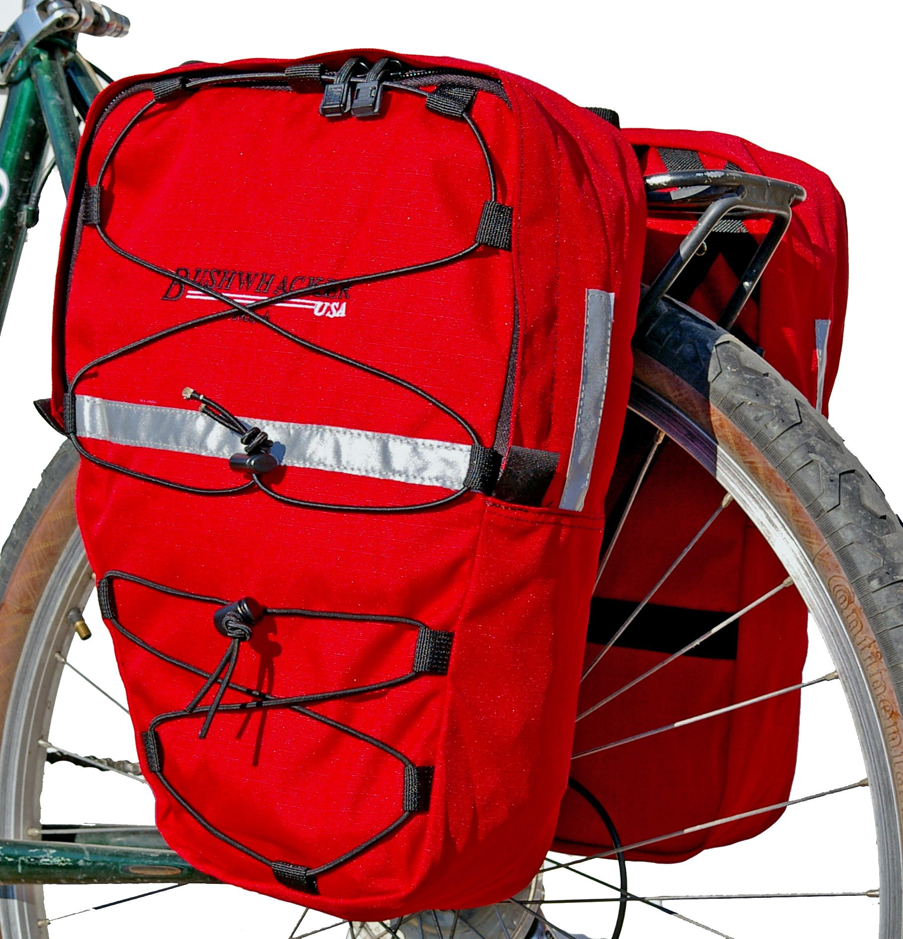 Bushwhacker Moab Red - Bicycle Front / Rear Pannier w/ Reflective Trim Cycling Rack Pack Bike Bag Frame Accessories Trunk