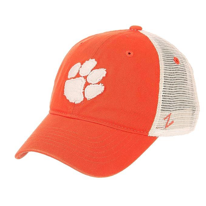 2dc906e888e Zephyr NCAA Relaxed Fit Vintage- University- Adjustable Trucker Hat Cap-Clemson  Tigers