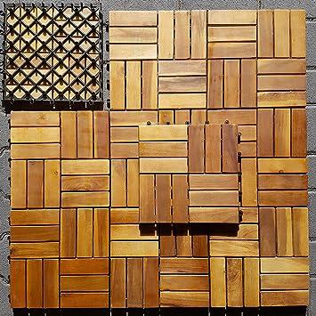 Holzfliesen 10 Stuck Holz Klick Fliesen Fur Balkon Und Terrasse