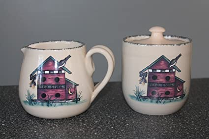 Home U0026 Garden Party Ltd Birdhouse Stoneware Creamer U0026 Sugar Bowl ...