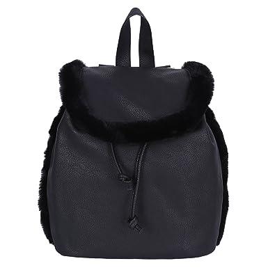 e672bc56d Black, Faux Leather, Faux-Fur Details, Backpack, Knapsack, Rucksack ...