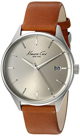 fbf4db2b5e4 Kenneth Cole New York Men s  Classic  Quartz Stainless Steel and Brown  Leather Dress Watch