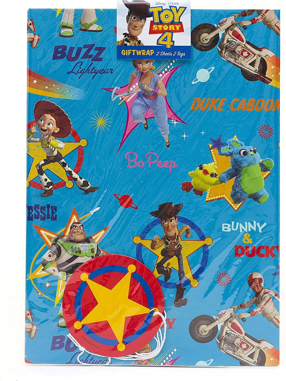 Lot de 2 feuilles de papier cadeau danniversaire pour gar/çon Motif Toy Story