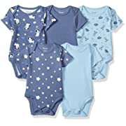 Hanes Ultimate Baby Flexy 5 Pack Short Sleeve Bodysuits, Sky, 0-6 Months
