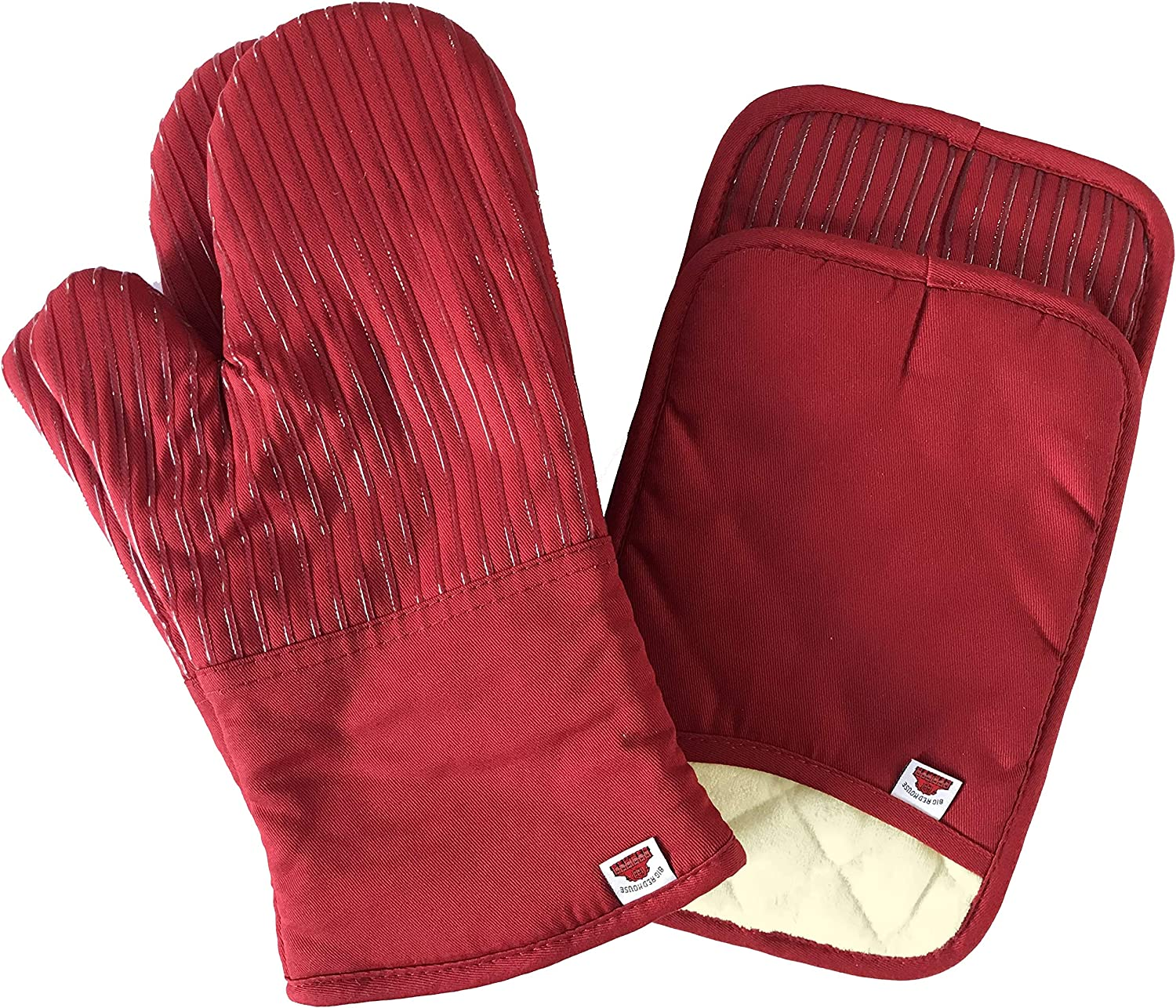 BIG RED HOUSE Oven Mitts and Pot Holders Sets, with the Heat Resistance of Silicone and Flexibility of Cotton, Recycled Cotton Infill, Terrycloth Lining, 480 F Heat Resistant Pair Red