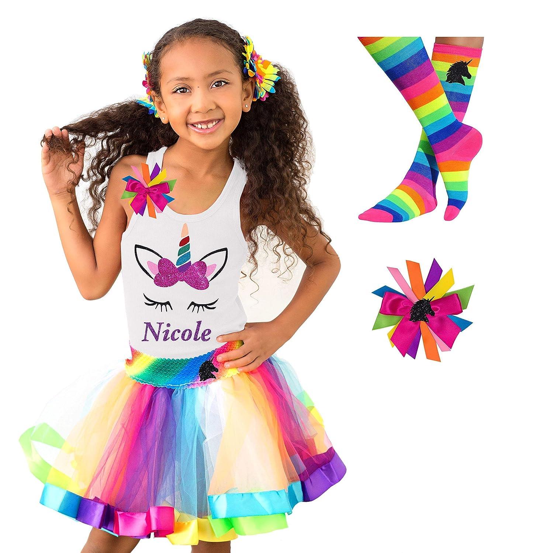 90147fde525 Amazon.com  Rainbow Unicorn Shirt Tutu Socks Hair Bow Outfit Girls Birthday  Party 4PC Gift Set Personalized Name  Handmade