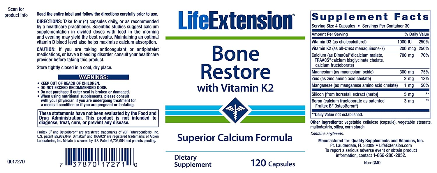 Life Extension, Bone Restore, With Vitamin K2, 120 Capsules: Amazon.es: Salud y cuidado personal
