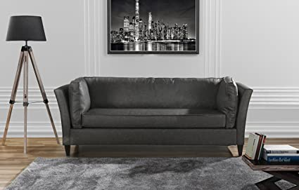 Genial Modern Club Style Bonded Leather Living Room Sofa (Grey)