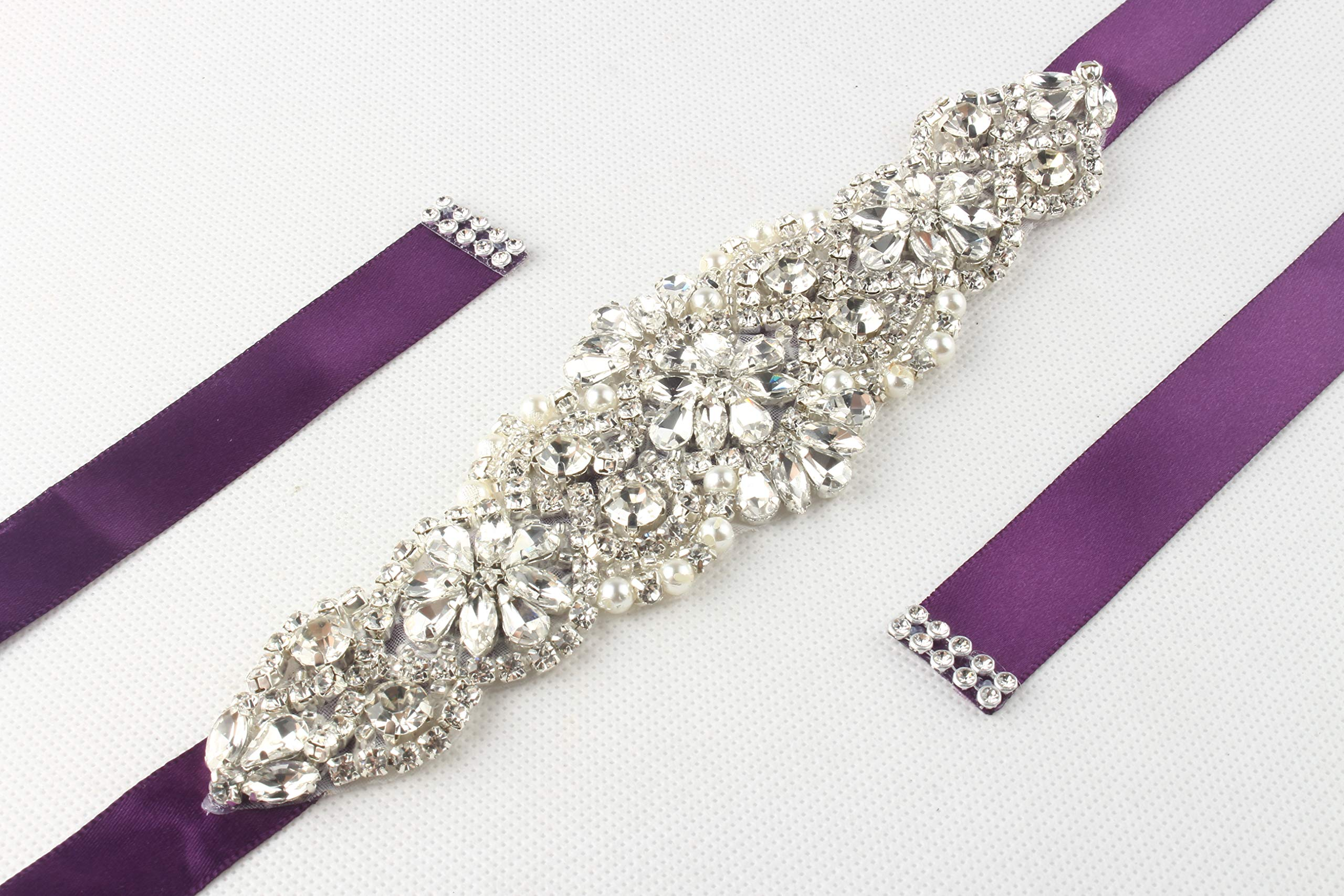 WILTEEXS Handmade Bridal Belt Wedding Belts Sashes Rhinestone Crystal Beads Belt For Bridal Gowns (Slive-purple)