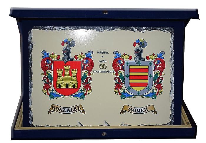 Escudo heráldico sobre pizarra con estuche: Amazon.es: Handmade