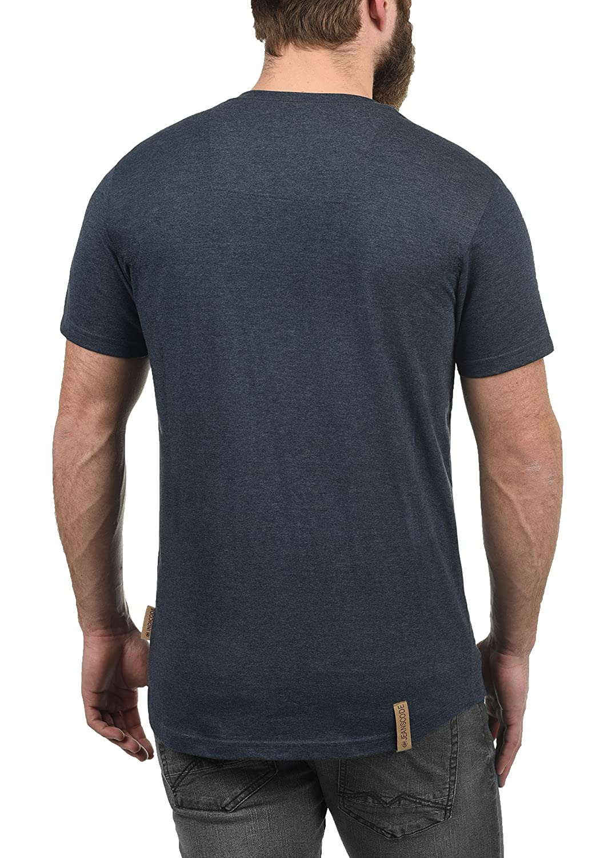 Indicode Art Herren T-Shirt Kurzarm Shirt Mit Grandad-Ausschnitt