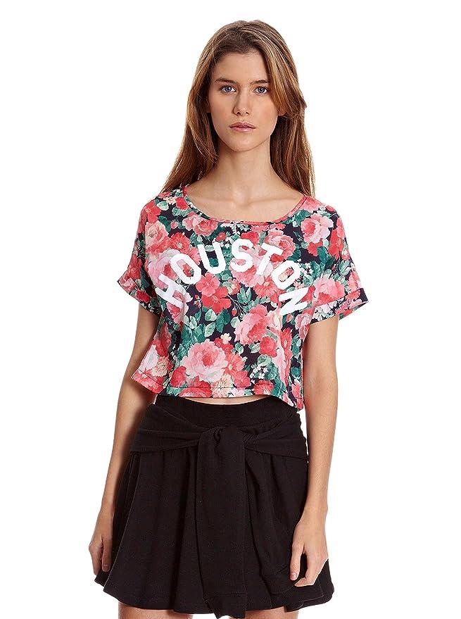 Bershka Camiseta Sport Print Flores Houston Rosa M: Amazon ...