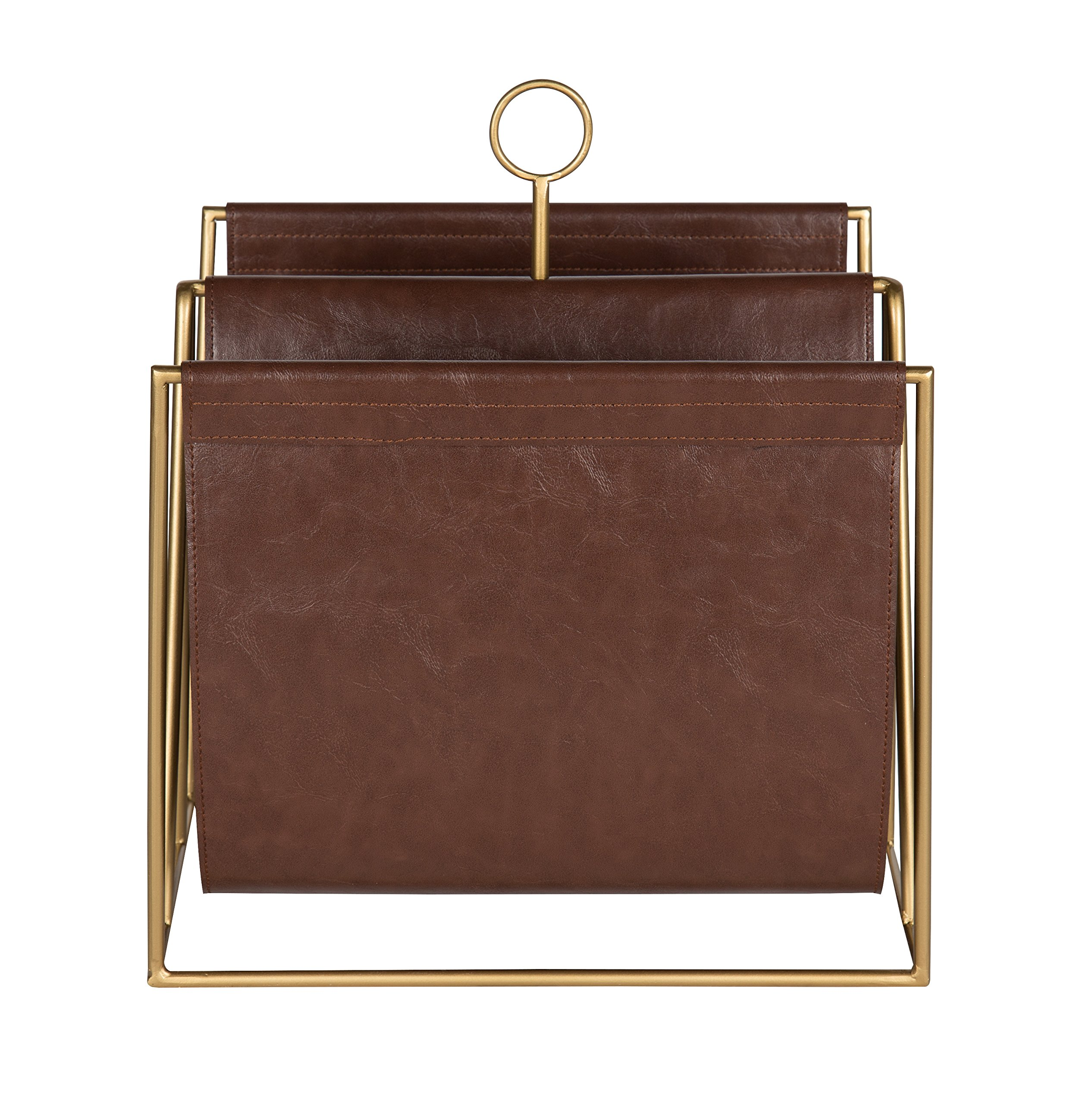 Kate and Laurel Alton Metal and Faux Leather Magazine File Holder, Brown and Gold by Kate and Laurel (Image #2)