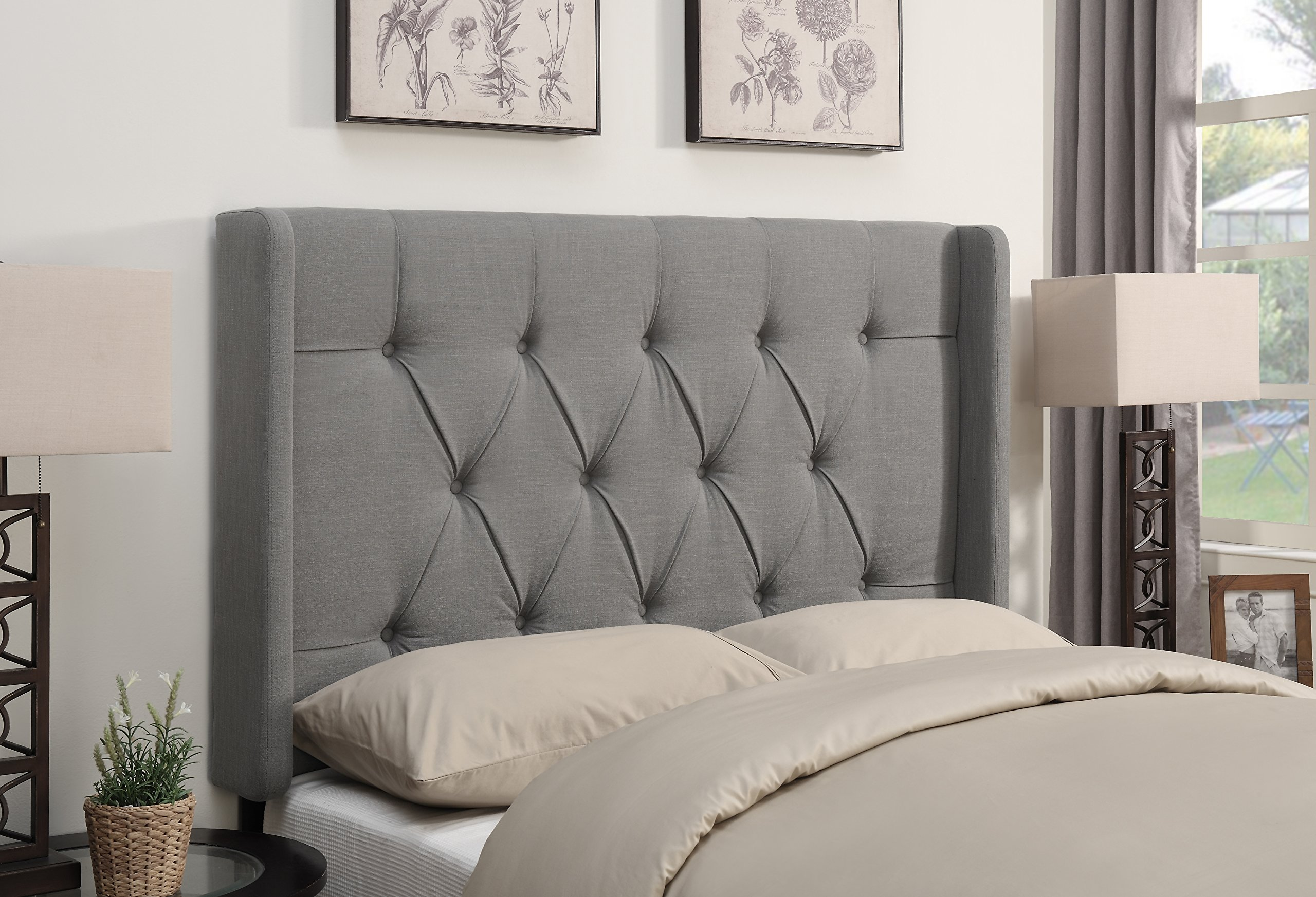 Pulaski Shelter Button Tufted Upholstered Headboard, Ash, King by Pulaski