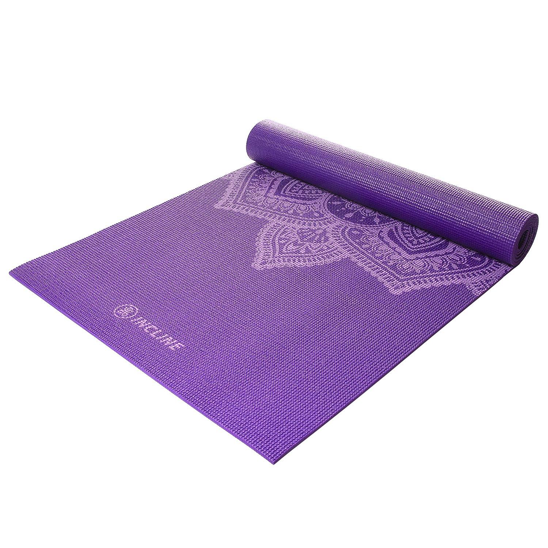 Incline Fit ヨガマット 滑り止めプリントヨガマット B07P8SBCDG  Violet Mandala 6mm