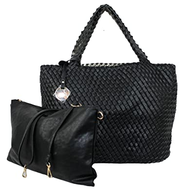 cbc25967853e3 Limited-Colors Damen Shopper Handtasche TIMEA Lederlook Flechtoptik Bag in Bag  Wendetasche(Schwarz)