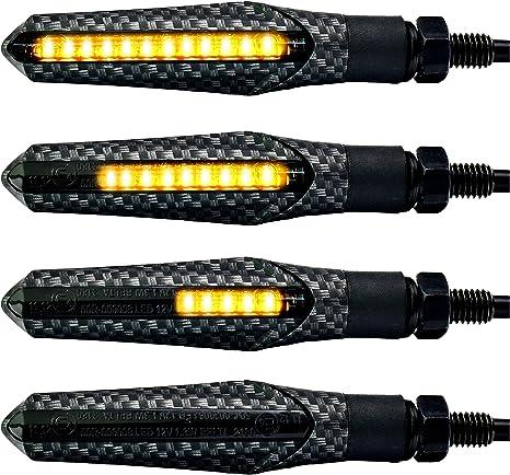 4 Pi/èces Simdapro Charbon Noir LED Moto Clignotant Laufeffekt S/équentiel Universel