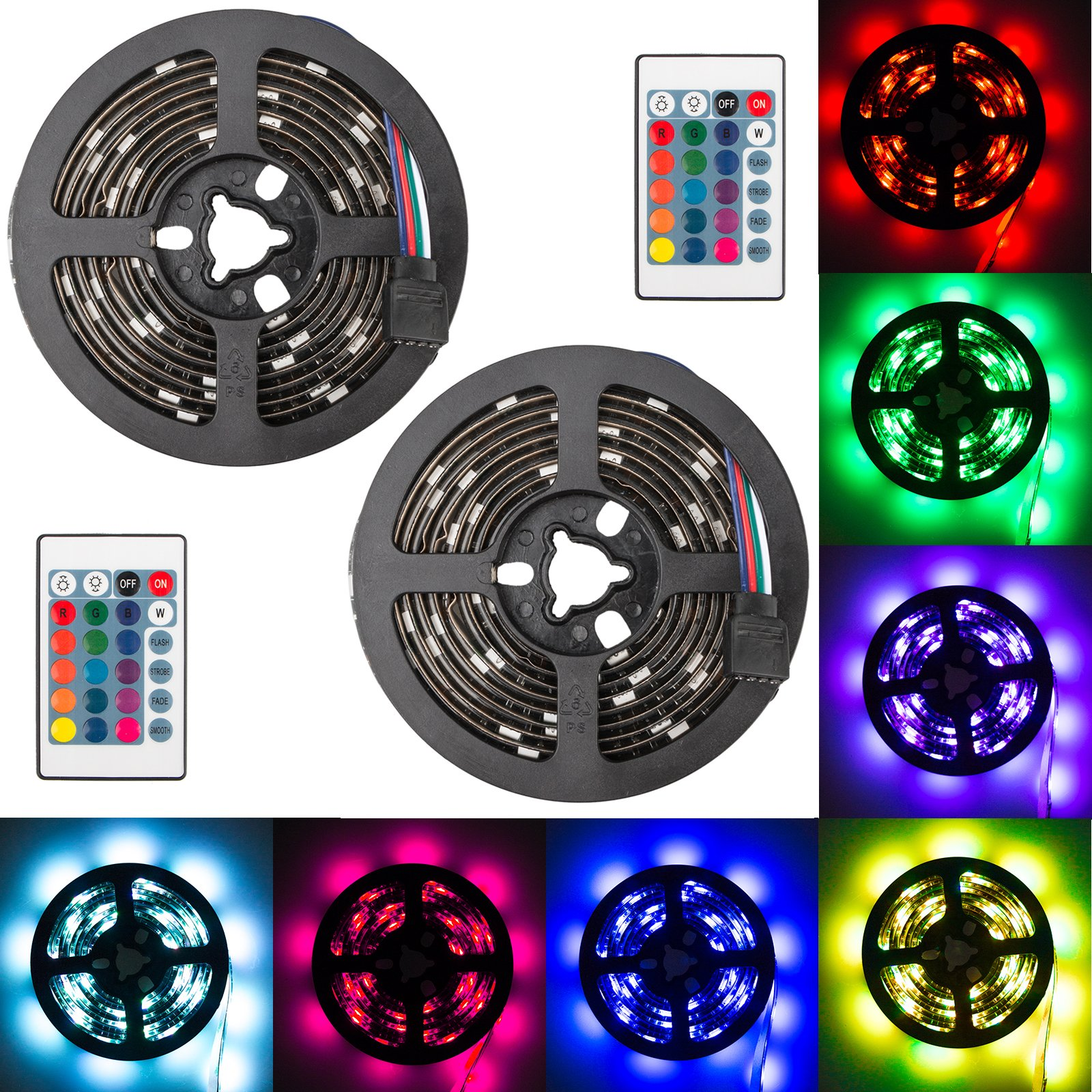 EEEKit 2-pack Super Bright 5050SMD RGB Color Changable LED Light, 6.6ft Battery Powered Strip Lamp Backlight, for Car Bike Party Color Changing