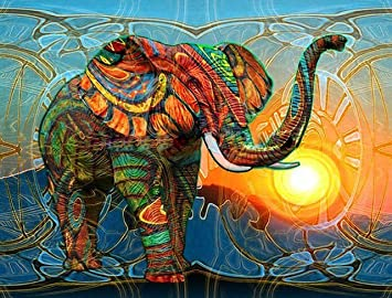 Golden Maple Diy Pre Printed Canvas Oil Painting Gift For Adults Kids Paint By Number Kits Home Decorations Elephant 16 20 Inch