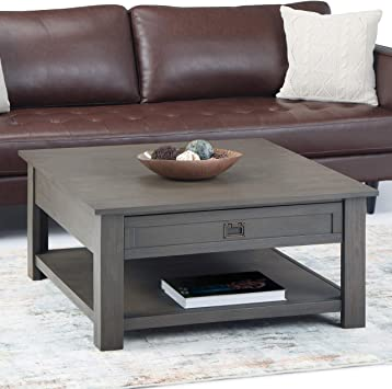 Amazon Com Simplihome Monroe Solid Acacia Wood 38 Inch Wide Square Rustic Contemporary Coffee Table In Farmhouse Grey With Storage 2 Drawers And 1 Shelf For The Living Room Family Room Furniture Decor